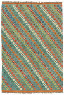 Oriental kelim flatweave rug with a geometric design in multicolour