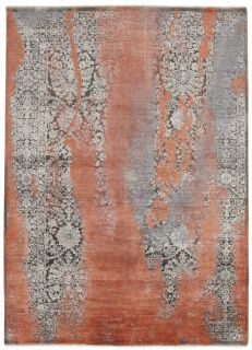 Large beige, black and red abstract rug