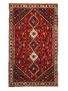 red Authentic persian rug with a traditional design