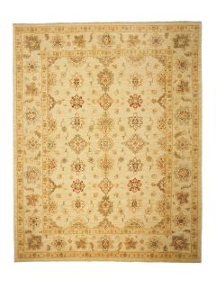 Authentic oriental rug with delicate floral pattern in cream