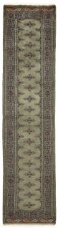 green oriental runner with traditional gul pattern