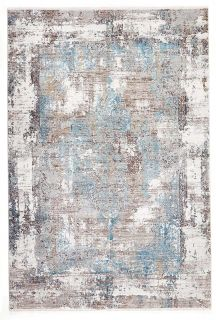 large area rug with distressed design in blue
