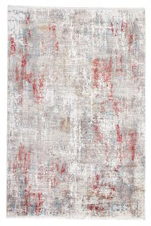 large area rug with abstract design in red
