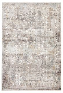 large area rug with distressed design in grey