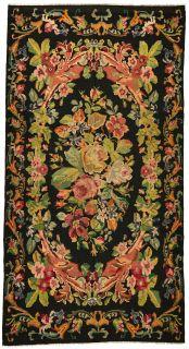authentic black oriental kelim flatweave with floral design