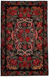 authentic oriental kelim flatweave with floral design