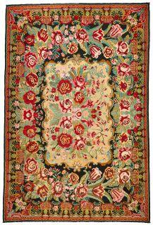 authentic multicolour oriental kelim flatweave with  floral design