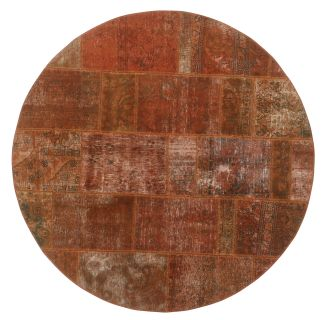 Authentic red patchwork persian circle rug