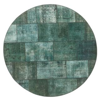 Authentic green patchwork persian circle rug