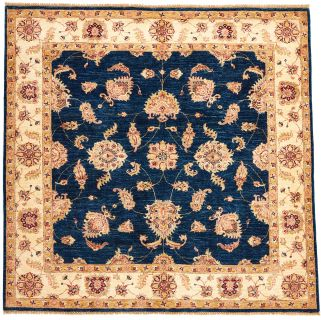 square oriental rug with blue and beige floral pattern