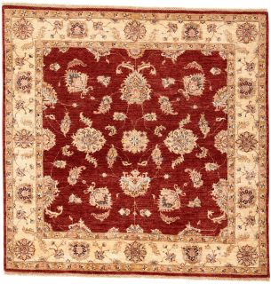 square oriental rug with red and beige floral pattern