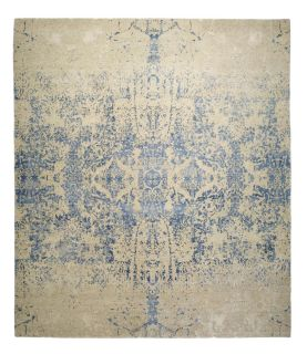 Authentic Indian rug with abstract design in royal blue