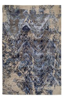 Authentic Indian rug with abstract design in blue