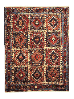 authentic multicolour persian rug with a traditional tile pattern