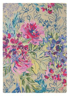 Rectangular beige wool rug with abstract floral design in pink, green and blue