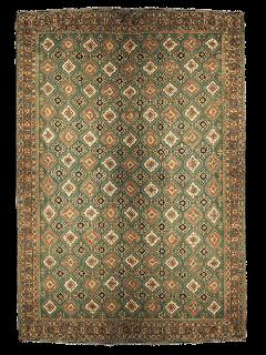 large authentic oriental soumak rug in green