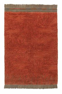 textured terracotta area rug with brown fringing