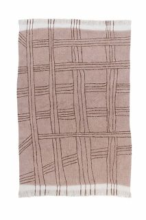 dusty pink area rug with tribal design