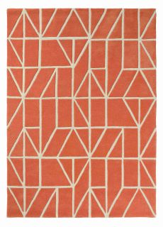 Orange rug with white modern geometric line pattern