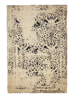 cream and blue oriental rug with a floral design