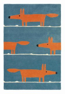 Blue wool rug with repeat orange fox pattern and white lines