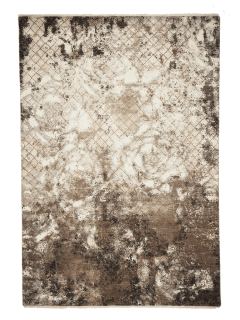 Large area rug with abstract design in grey and beige