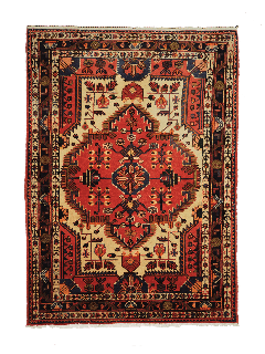 Authentic persian rug with traditional tribal geometric pattern in red and black