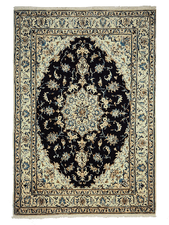 Authentic persian rug with a traditional floral design in cream and blue