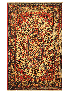 Persian rug with red and cream
