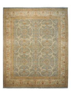 Authentic oriental rug with delicate floral pattern in beige and blue