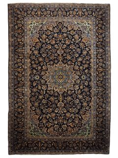 Authentic persian rug with traditional floral design in blue and black