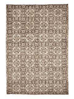 Authentic oriental rug with a damask pattern in beige