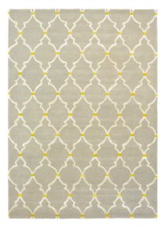Rectangular grey rug with white trellis design and gold details