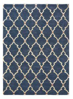 Rectangular navy blue rug with white trellis design and gold viscose details