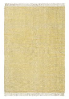 brink and campman flatweave with a yellow woven design