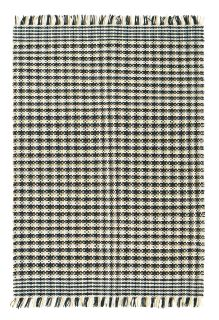 brink and campman flatweave with a black and white houndstooth design