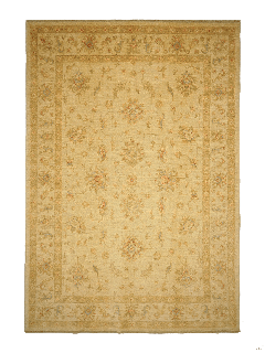 Authentic oriental rug with delicate floral pattern in beige