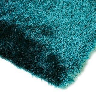 Fluffy teal blue shagpile rug