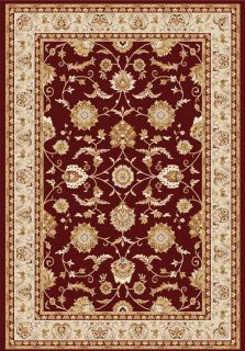 red, beige and gold rug with all-over floral design and border