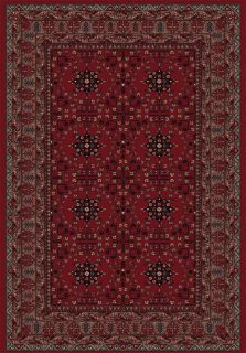 Red rug with persian geometric motifs and design