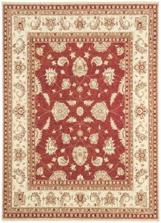 red and beige rug with a traditional design