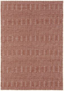 red and white woven rug with aztec chevron pattern