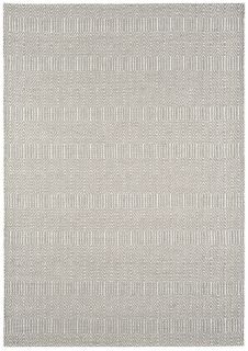 silver and white rug with aztec chevron pattern