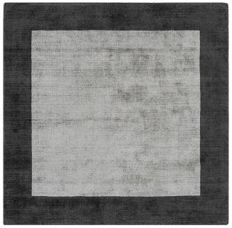 plain grey rug with border