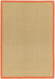 beige sisal rug with an orange border
