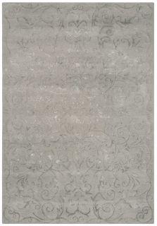 Silver grey rug with ornate foliage and fleur de lys design