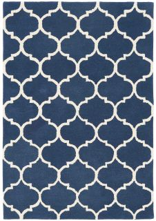 blue geometric rug with an ogee pattern