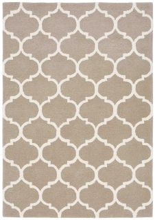 beige geometric rug with an ogee pattern