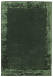 green wool and viscose rug with a border design