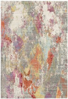 multicolour rug with an abstract design